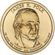 1 доллар 2009 год  11-й президент Джеймс К. Полк