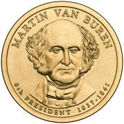 1 доллар 2008 год  8-й президент  Мартин Ван Бюрен