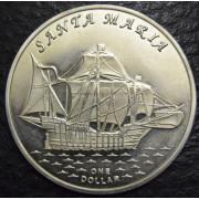 """1 доллар 2016 год Острова  Гилберта . """"Корабль Святая Мария"""""""