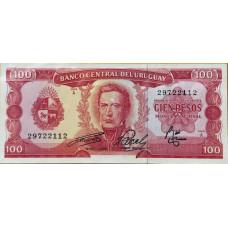 100 песо 1967 год .  Уругвай