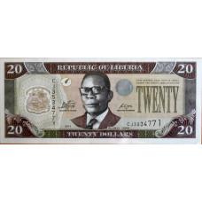 20 долларов 2011 год. Либерия