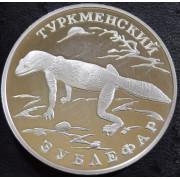 """1 рубль  1996 год """" Туркменский зублефар""""  (присутствуют следы чистки)"""